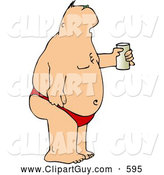 Clip Art of AFat Man Wearing a Speedo at the Beach and Drinking a Beer by Djart