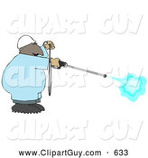 Clip Art of AFriendly African American Man Using a High Powered Water Pressure Washer by Djart