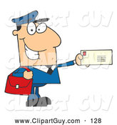 Clip Art of AFriendly Mail Man Holding a Letter by Hit Toon