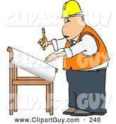 Clip Art of AFriendly Male Architectural Engineer Writing on a Blueprint with a Pencil by Djart