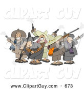 Clip Art of AGroup of Crazy Mexican Bandits Shooting Guns into the Air by Djart