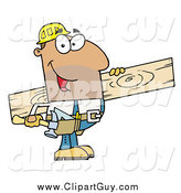 Clip Art of AHispanic Construction Worker Carrying a Wood Board by Hit Toon