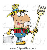 Clip Art of AHispanic Farmer Man Carrying a Rake and Pail by Hit Toon