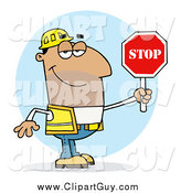 Clip Art of AHispanic Traffic Director Man Holding a Stop Sign by Hit Toon