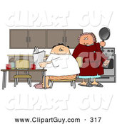 Clip Art of AMad Wife Preparing to Hit Her Lazy Husband with a Frying Pan by Djart