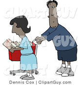 Clip Art of an African American Man and Woman Shopping Together in a Store by Djart