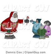 Clip Art of an African American Santa Claus Man Handing out Candy Canes to a Group of Kids by Djart