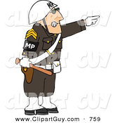 Clip Art of an Angry Male Military Police Officer Directing People to Move by Pointing His Finger to the Side by Djart