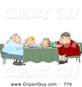 Clip Art of an Average Family Eating Dinner Meal Together at the Dining Room Table by Djart