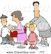 Clip Art of an Average Family Grocery Shopping Together by Djart