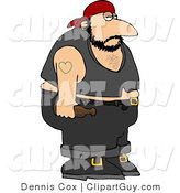 Clip Art of an Obese Biker Man with a Heart Tattoo on His Arm by Djart