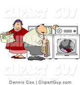 Clip Art of an Overweight Man and Woman Washing Their Laundry Together on Laundry Day by Djart