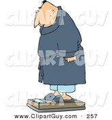 Clip Art of an Overweight White Man Measuring His Weight on a Standard Bathroom Scale by Djart