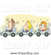 Clip Art of Angry Drivers Stuck in City Traffic by BNP Design Studio
