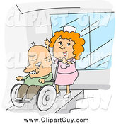 Clip Art of ANurse Pushing an Old Man in a Wheelchair by BNP Design Studio