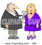 Clip Art of AOlder Couple Partying at a Cocktail Party by Djart