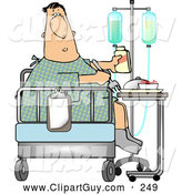 Clip Art of ARecovering Sick White Patient Eating Lunch on the Bed of His Hospital Room by Djart