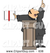 Clip Art of AReligious Man Preaching from the Bible, on White by Djart