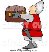 Clip Art of ASoldier Holding a Wooden Treasure Chest by Djart