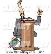 Clip Art of ATall Christian Preacher Holding a Bible and Giving a Speech from Behind a Podium by Djart