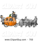 Clip Art of ATeam of Horses Pulling People on a Pumpkin Carriage by Djart