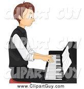 Clip Art of ATeen Boy Sitting and Playing a Piano by BNP Design Studio