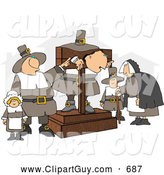 Clip Art of AThe Pilgrim Pillory and Observers by Djart
