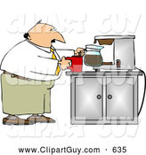 Clip Art of AWaking up Businessman Getting a Cup of Coffee by Djart