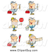 Clip Art of Caucasian Construction and Repair Men by Hit Toon