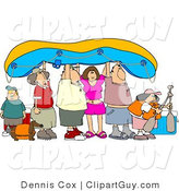 Clip Art of Friends and Family Going River Rafting, Holding the Raft up by Djart
