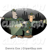 Clip Art of Male and Female Mexican Border Patrol Police Officers with Flaslights Looking for Illegal Immigrants Crossing the US Border at Night by Djart