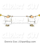 Clip Art of Male Angels Blowing Through Trumpets and Holding a Blank Sign by Djart