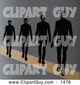 Clip Art of Male Models Walking on a Runway by Pams Clipart
