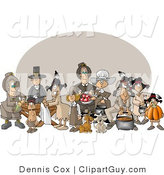 Clip Art of Men, Women, and Children Around a Thanksgiving Feast by Djart