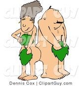 Clip Art of Naked Adam and Eve Covering Their Private Parts with Leaves by Djart
