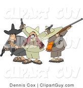 Clip Art of Rowdy Mexican Banditos Pointing Guns and Rifles by Djart