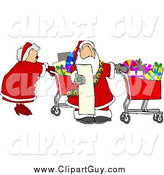 Clip Art of Santa and Mrs Claus Shopping for Christmas Presents by Djart