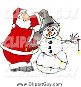 Clip Art of Santa Claus Decorating Snowman with Christmas Lights by Djart