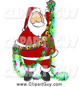 Clip Art of Santa Holding a Garland by Djart