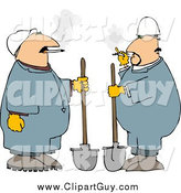 Clip Art OfWorkers Smoking Cigarettes and Standing with Shovels by Djart