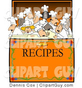 Vector Clip Art of a Crowded Recipe Box of Chefs - Royalty Free by Djart