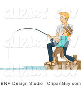 Vector Clip Art of a Man Helping His Son Reel in a Big Fish - Royalty Free by BNP Design Studio