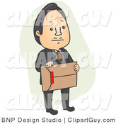 Vector Clip Art of an Asian Businessman Carrying an Envelope - Royalty Free by BNP Design Studio