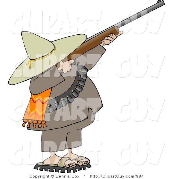 Clip Art of a Bandito Aiming a Rifle and Getting Ready to Shoot at Something