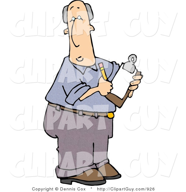 Clip Art of a Caucasian Male Manager Taking Notes with a Pencil and Clipboard