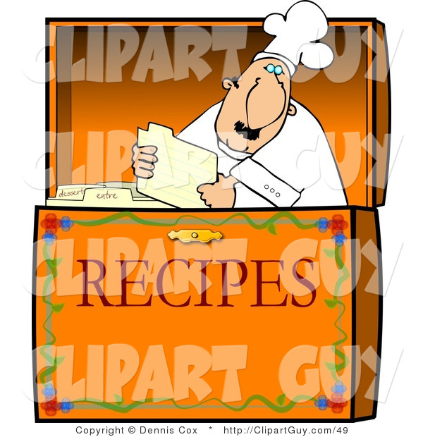 Clip Art of a Food Recipe Box with a Caucasian Chef