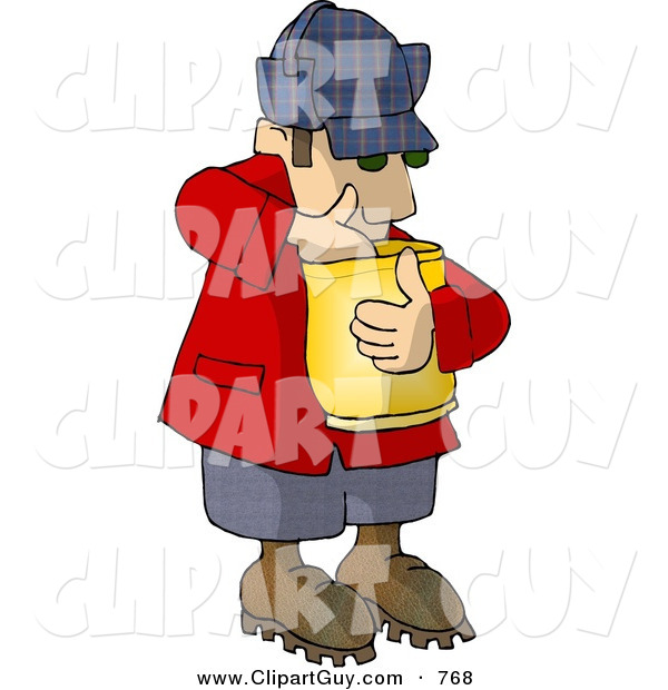 Clip Art of a Hungry Woodsman Eating Popcorn from a Bag
