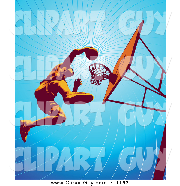 Clip Art of a Low Angle View of a Basketball Player Jumping High to Dunk the Ball in the Hoop During Practice