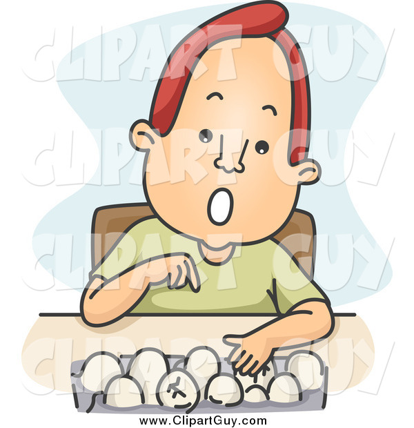 Clip Art of a Red Haired White Man Counting Eggs