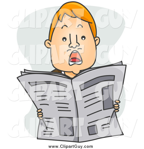 Clip Art of a Shocked Red Haired Man Holding up a Newspaper